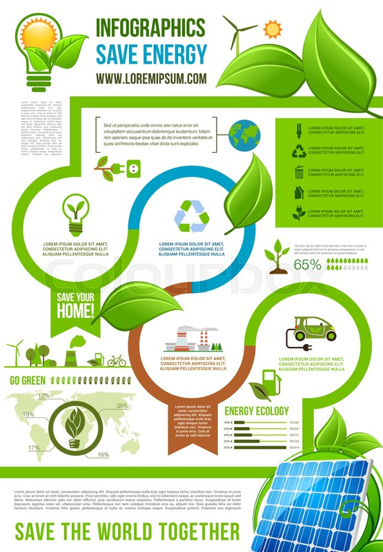 Save Energy Infographics For Ecology Stock Vector