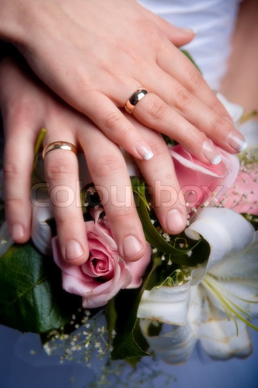 Hands With Wedding Rings Stock Photo Colourbox