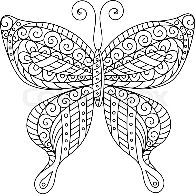 Coloring Book For Adult And Older Children Page Outline Drawing Decorative Butterfly Silhouette