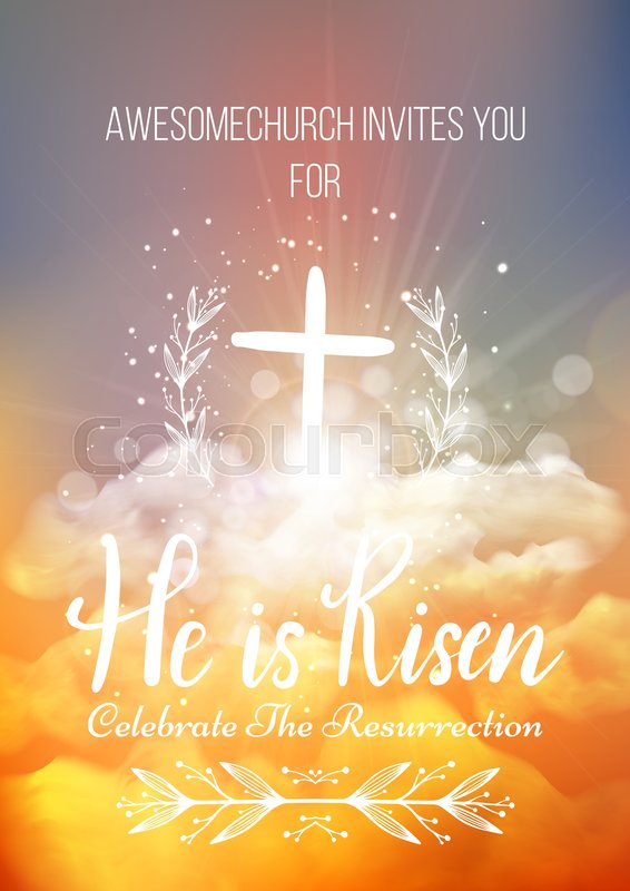 He is risen vector easter religious poster template with he is risen vector easter religious poster template with transparency and gradient mesh church invitation flyer vector illustration stopboris Images
