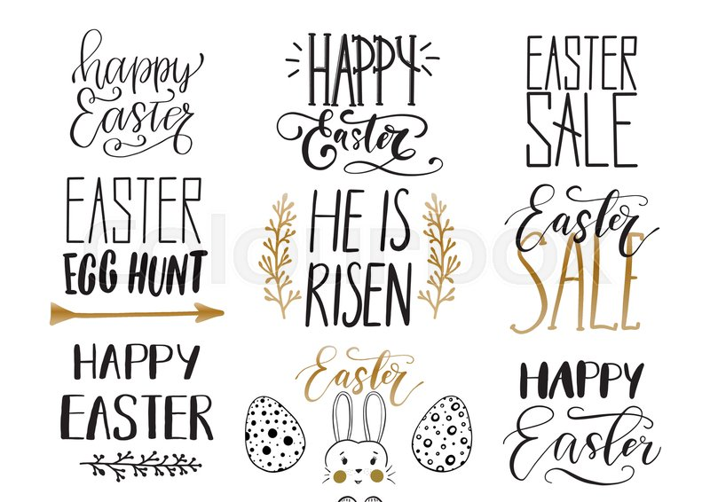 Handwritten Easter Phrases Design Collection For Greeting Cards Photo Overlays Black And Golden Colors Happy Lettering Modern Calligraphy Isolated