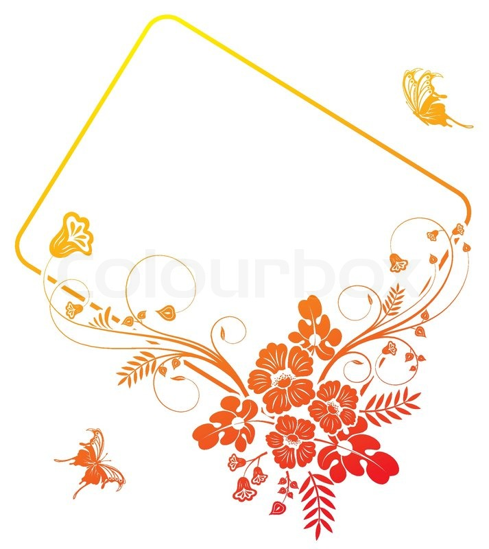Flower frame with Butterfly, element for design, vector illustration ...