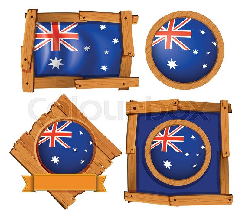 Australia flag on different frame designs illustration | Stock ...