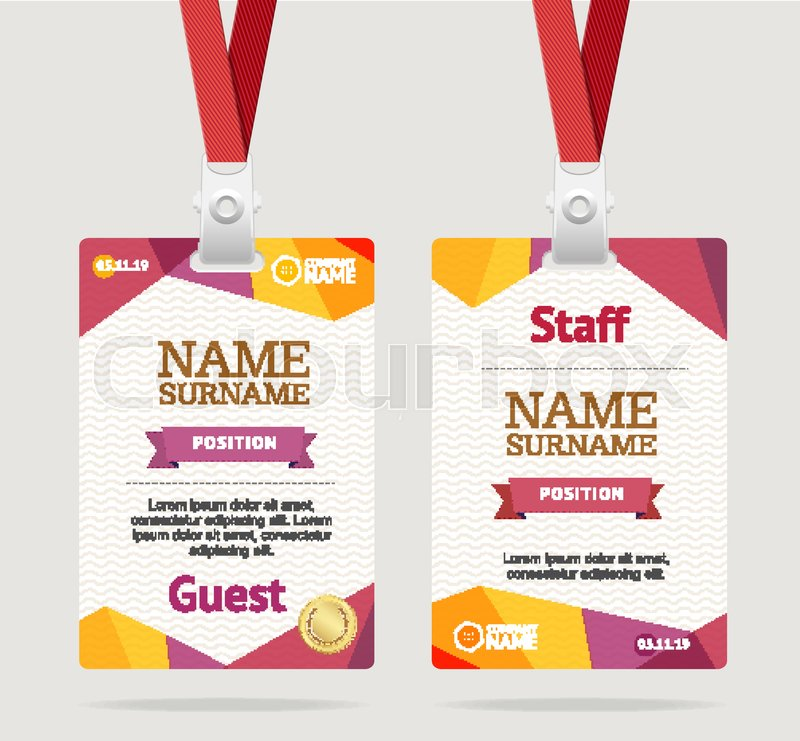 Id Card Template Plastic Badge Stock Vector Colourbox