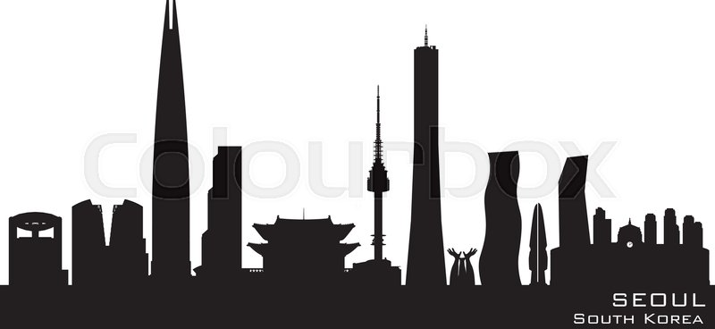 seoul south korea skyline detailed stock vector