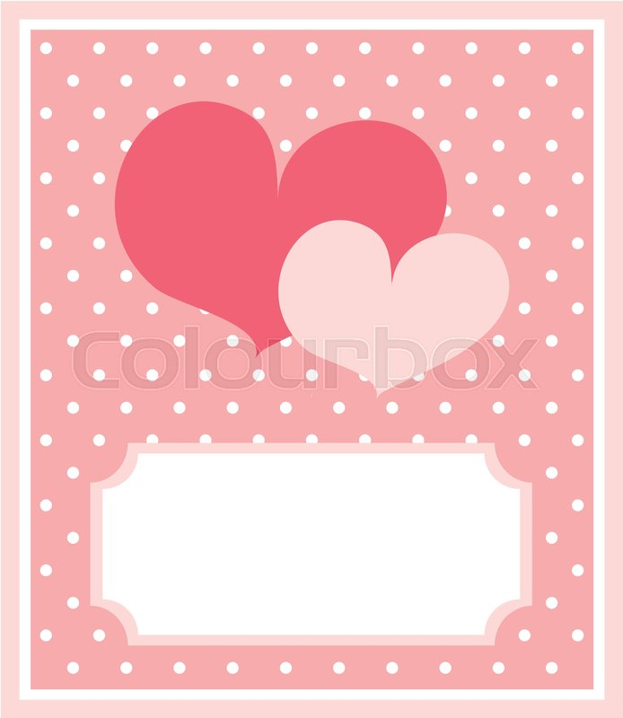 Cute Pink Heart With Dots Background And White Space To Put Your Own Text Message Card Or Invitation Vector Illustration