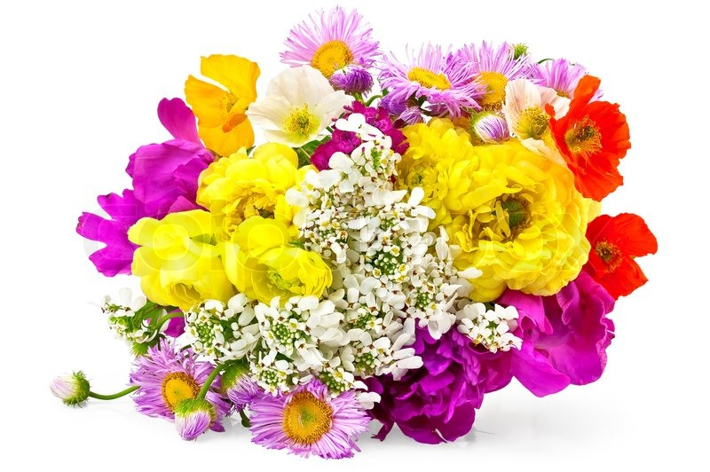 Bouquet of different flowers of white, yellow, red and pink colors ...