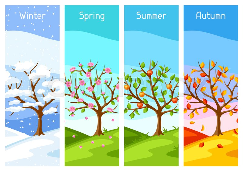 Four seasons. Illustration of tree and landscape in winter, spring, summer, autumn, vector