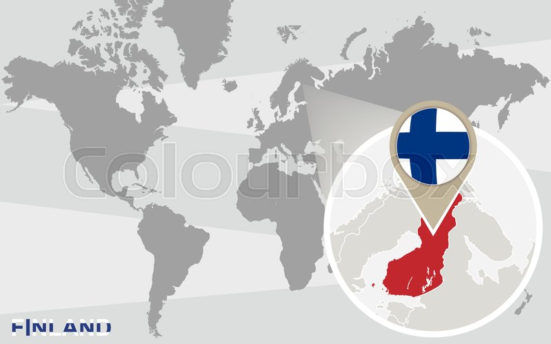 World map with magnified finland finland flag and map stock stock vector of world map with magnified finland finland flag and map gumiabroncs Images