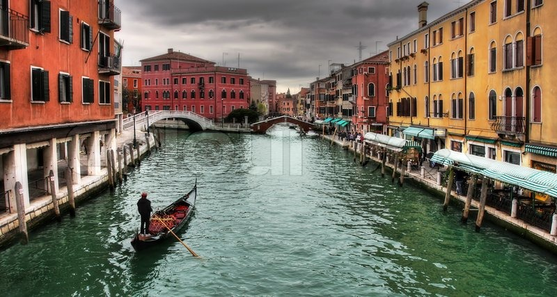 Venice Italy Architecture panoramic view on architecture and canal in venice, italy | stock