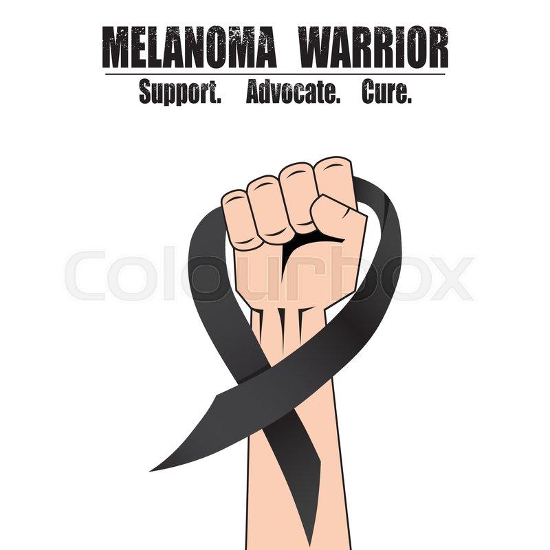 Fight Hand Fist Against Melanoma Black Ribbon Skin Cancer