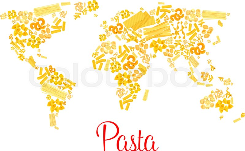 Italian pasta designed in world map traditional macaroni and italian pasta designed in world map traditional macaroni and spaghetti fin form of continents vector italy cuisine pappardelle penne and lasagna gumiabroncs Image collections
