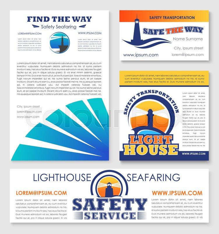 Safety marine transportation service company business templates set ...