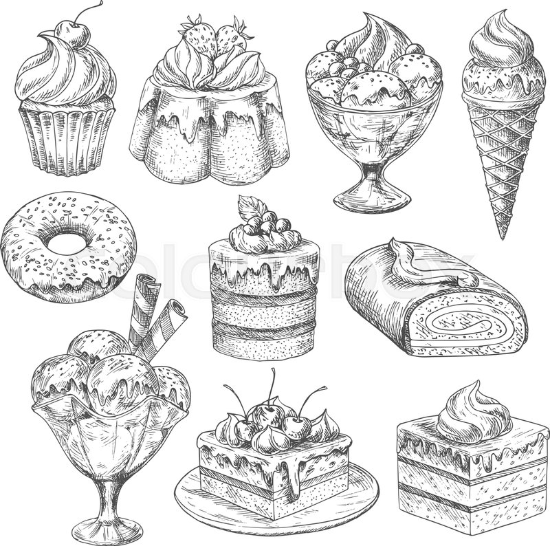 bakery desserts sketch vector icons  pastry cakes and biscuits  pudding and cupcakes or