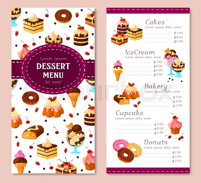 Awesome Bakery Desserts Vector Menu Template. Price For Pastry Cakes, Ice Cream And  Donuts. Design Of Sweet Biscuits, Pudding And Cupcakes Or Chocolate Tortes  And ... With Dessert Menu Template