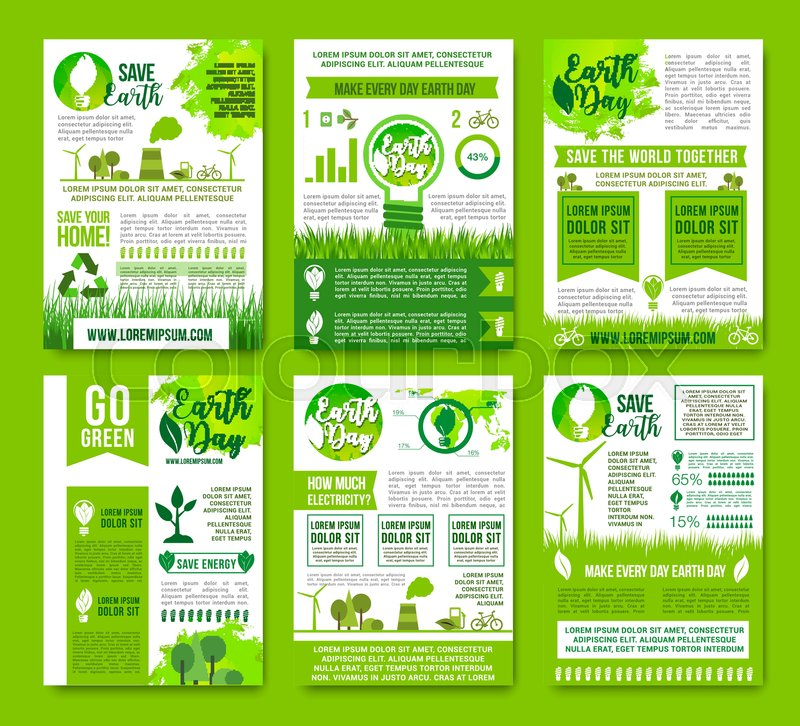 Save Earth Vector Information Or Infographics Brochures Set  Natural Sources Consumption And