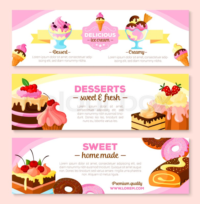 Bakery desserts and homemade cakes vector banner set. Design of ...