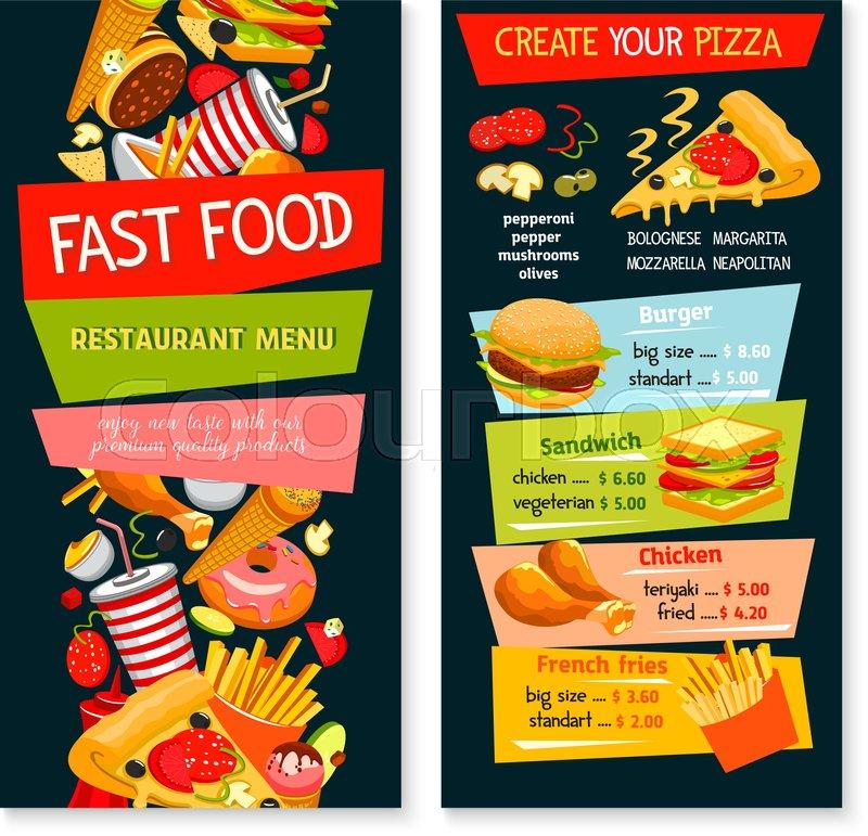 sandwich shop menu template - fast food restaurant vector menu price template design