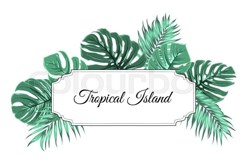 Tropical Island Border Frame Template Horizontal