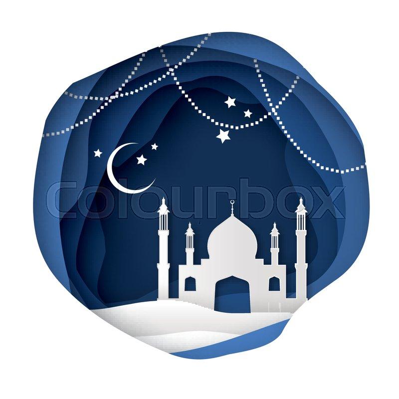 Ramadan Kareem Greeting Card With Arabic White Origami Mosque Paper