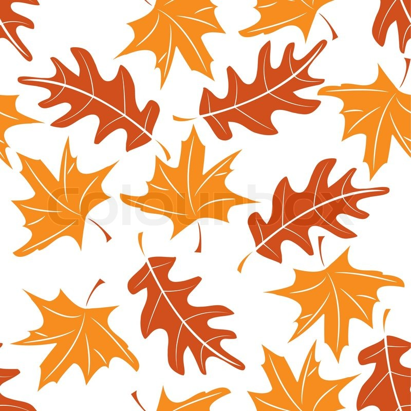 Seamless Autumnal Pattern With Maple And Oak Leaves Vector Awesome Maple Leaf Pattern
