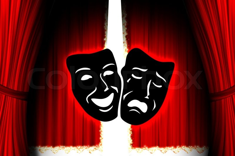 Red curtains with spotlight - Red Theater Stage With Mask Stock Photo Colourbox