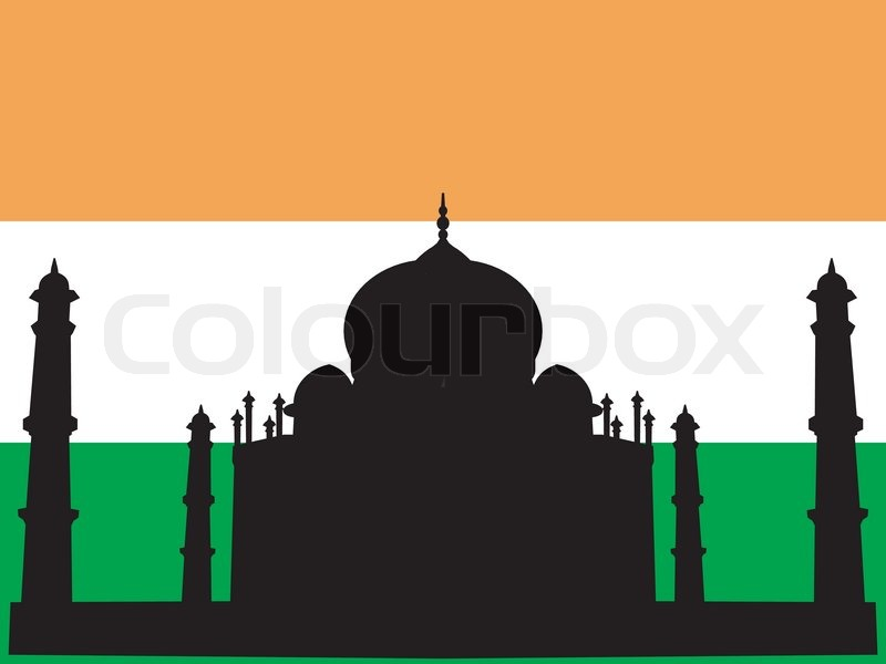 Silhouette of Taj Mahal on Indian flag background  Stock Vector