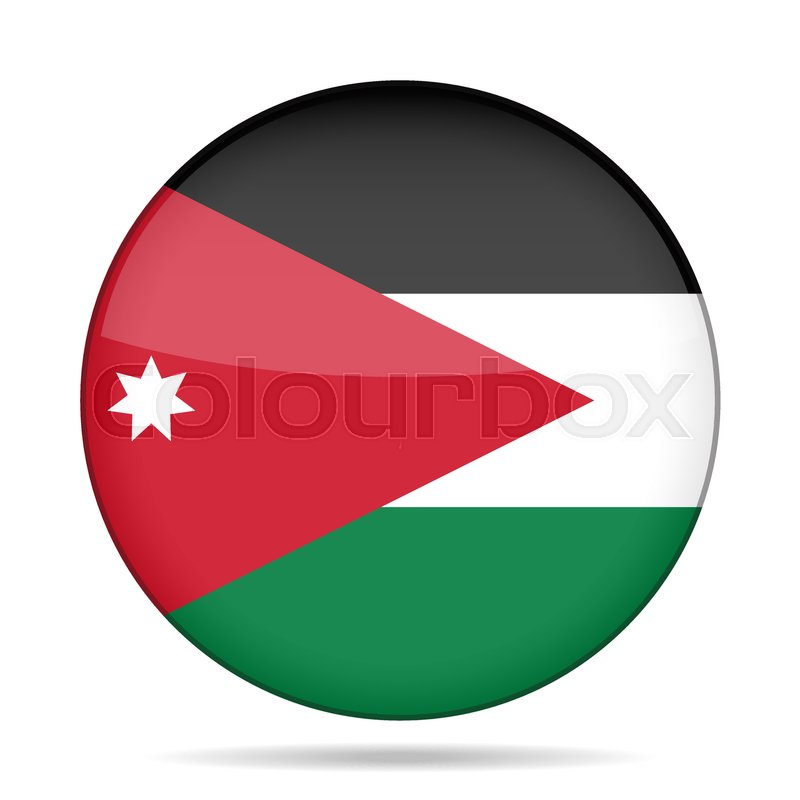 national flag of jordan shiny round button with shadow stock
