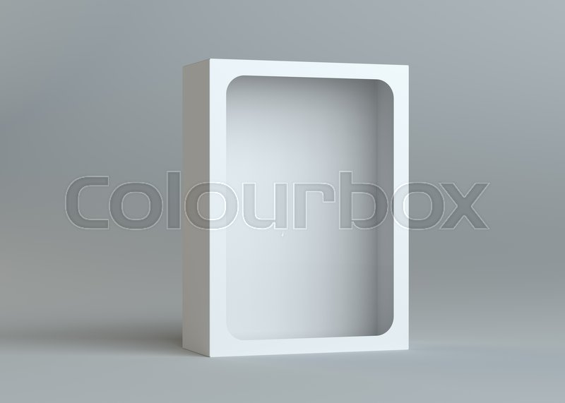 A realistic white empty packaging cardboard box for products - cosmetics, electronics, food, books and more. Gray background. 3d illustration, stock photo