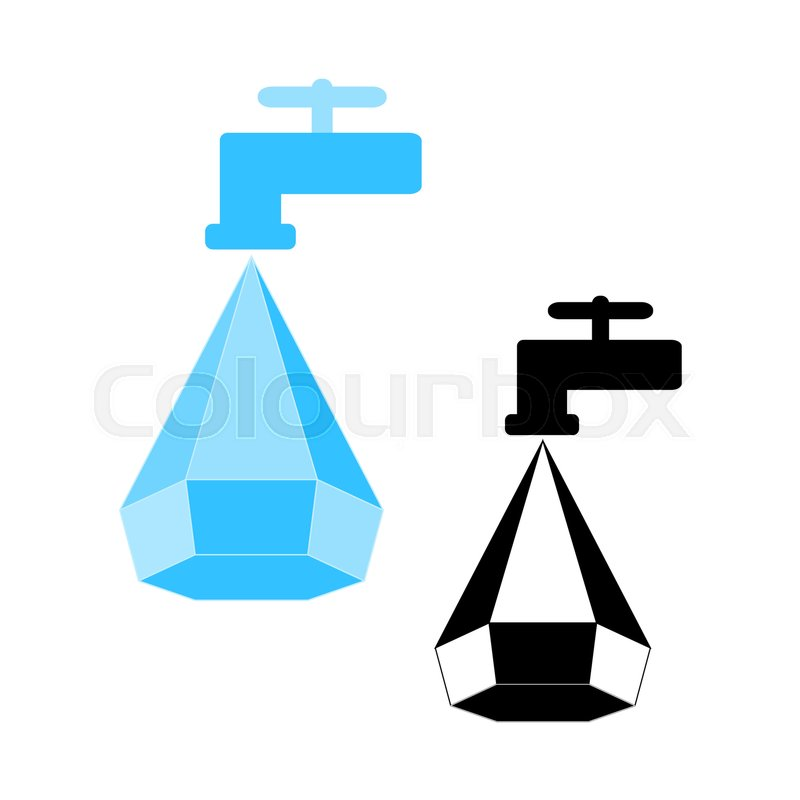 Water Conservation Logo Water Droplet Icon And Tap Logo Design