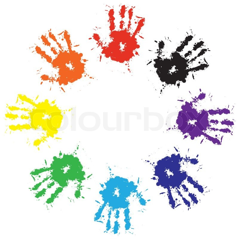 Print of hand from ink colorful splash     | Stock vector | Colourbox