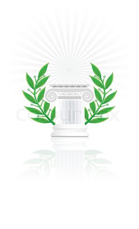 Classic Column With Laurel Wreath Stock Vector