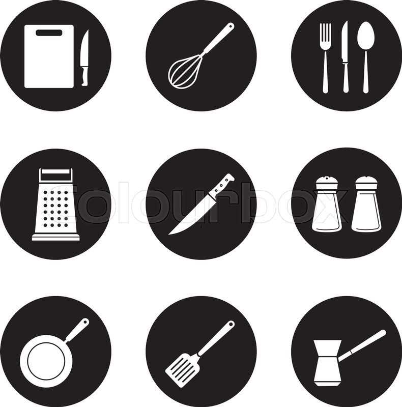 Kitchenware Black Icons Set. White Silhouettes Illustrations. Cutting  Board, Grater, Frying Pan And Spatula Icons. Kitchen Tools Items. Cooking  Equipment.
