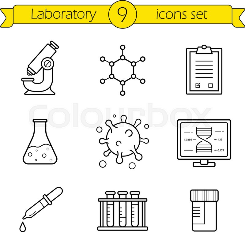 laboratory tools linear icons set thin line research lab equipment illustrations scientific pharmaceutical and medical lab appliance contour symbol