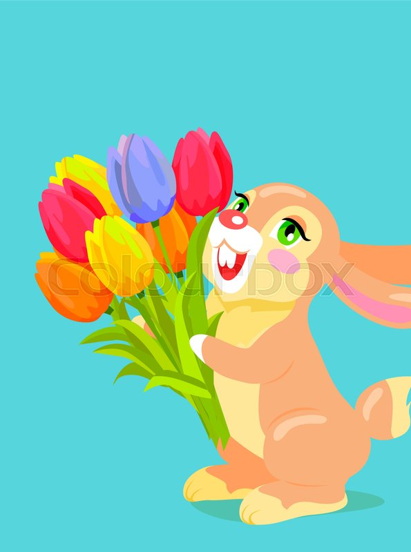 Cute bunny with red fur holding bouquet of colorful tulips cartoon romantic gift concept with scented flowers posy and fluffy animal for easter valentines mother day greeting cards design vector negle Choice Image