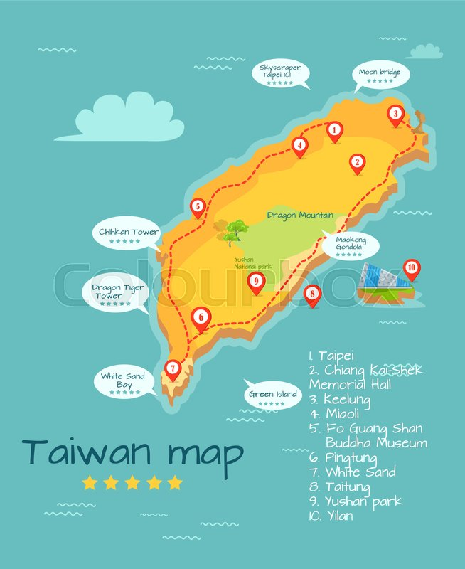 cartoon taiwan map of famous places of interest with five star rating big sightseeing tour round chinese island geographical object in pacific ocean