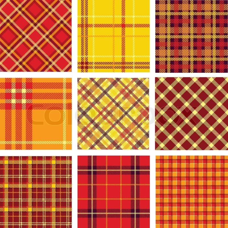 bright plaid patterns set stock vector colourbox