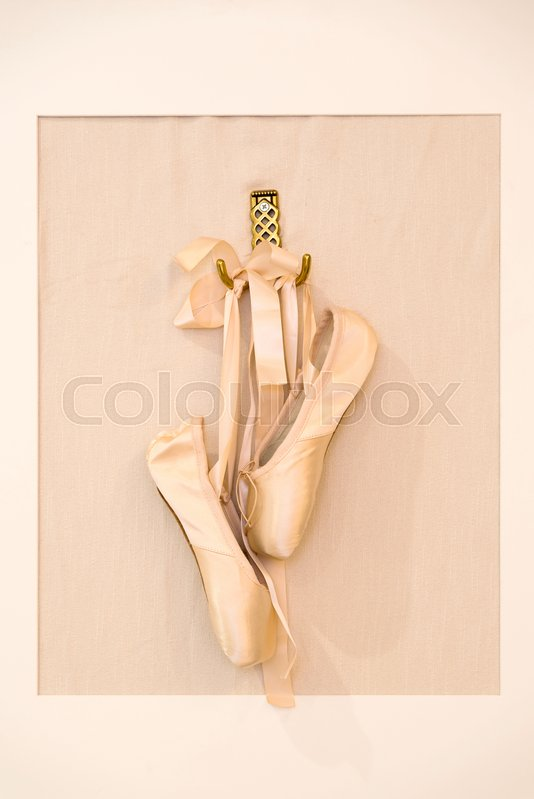 12c75b7a9417 Ballet shoes hanging in a picture ...   Stock image   Colourbox