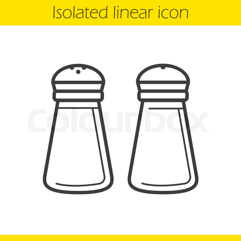 Salt and pepper shakers linear icon. ... | Stock Vector ...