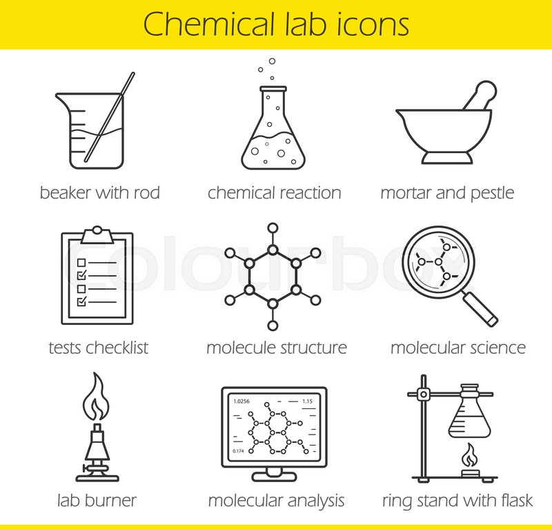 molecule structure and lab burner chemistry lab tools thin line isolated vector illustrations stock vector colourbox