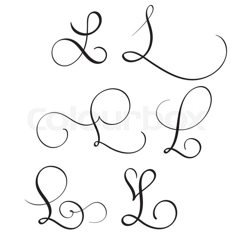 Set Of Art Calligraphy Letter L With Flourish Vintage Decorative Whorls Vector Illustration EPS10