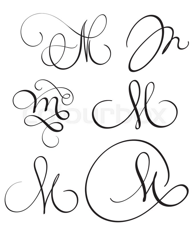 Set Of Art Calligraphy Letter M With Flourish Vintage Decorative Whorls Vector Illustration EPS10