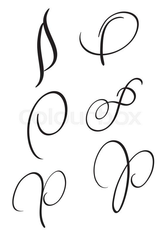 Set Of Art Calligraphy Letter P With Flourish Vintage Decorative Whorls Vector Illustration EPS10