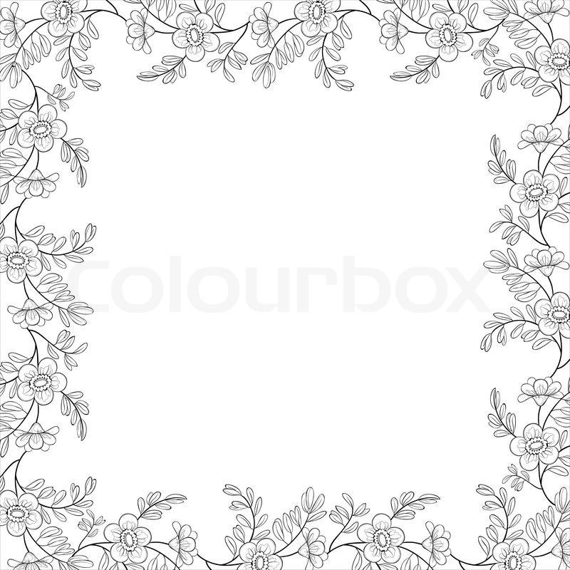 Floral background , Rahmen aus Blumen und Blättern, Konturen ...