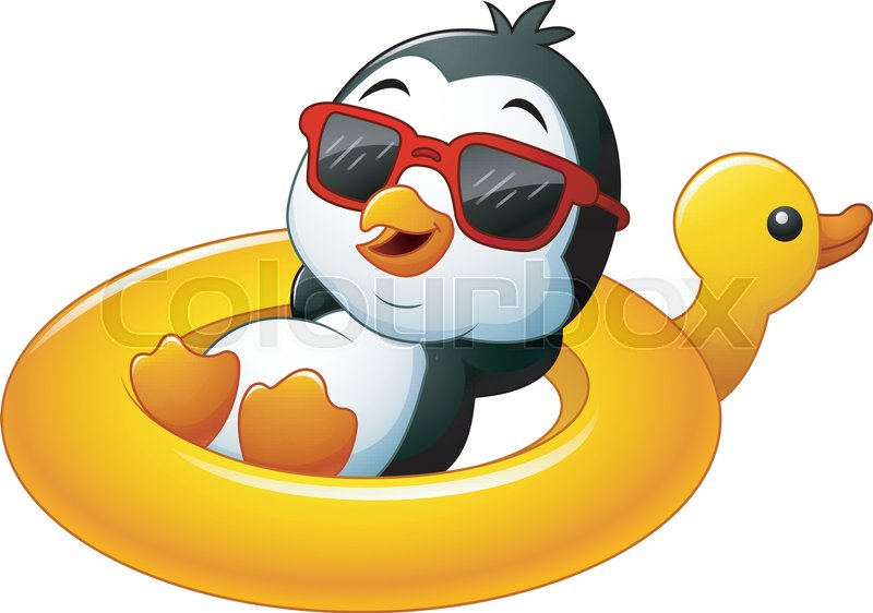Illustration Of Cartoon Penguin Relaxing On The Inflatable