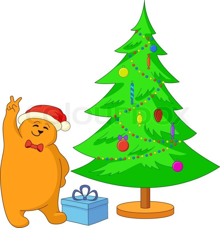 Vector cartoon: teddy bear showing victory sign near the Christmas ...