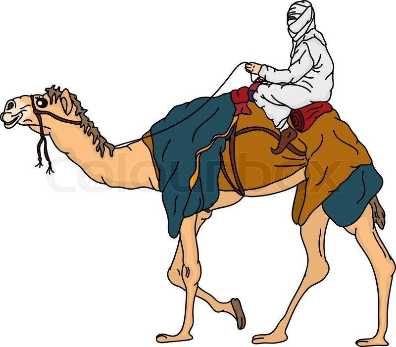 Vector - bedouin riding a ... | Stock vector | Colourbox