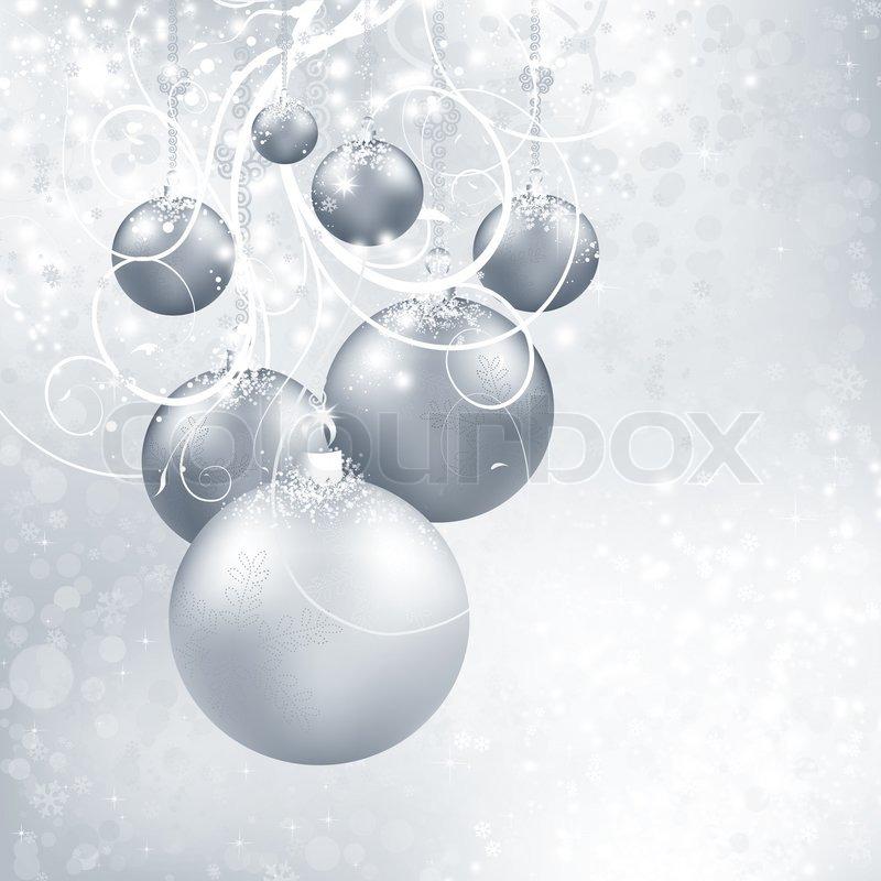 Silber Weihnachten Hintergrund mit Kugeln , Schneeflocken ...