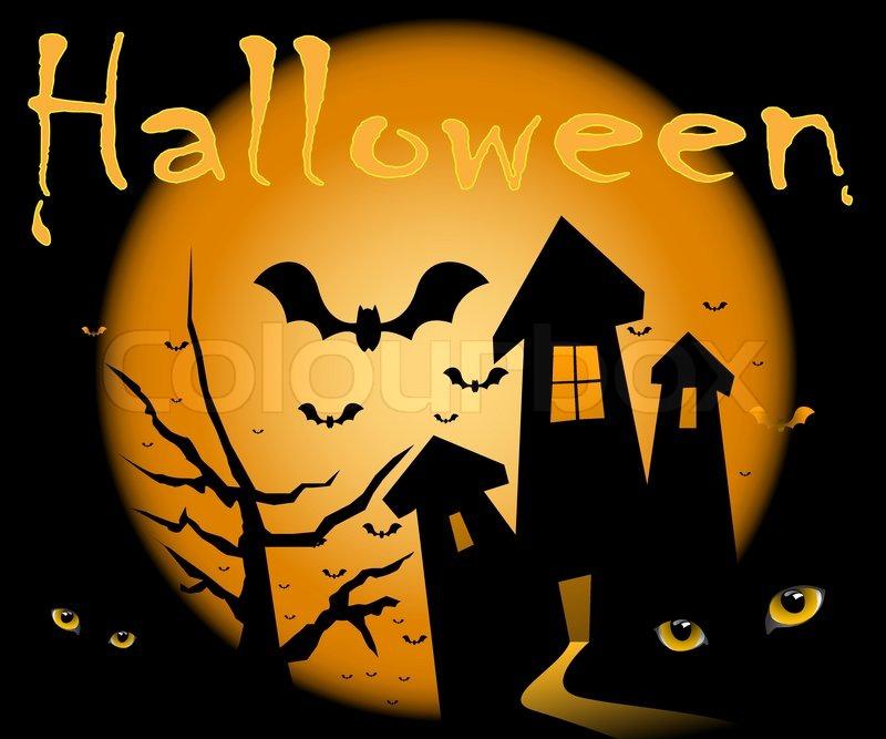 Halloween illustration scene, moon, home, night, and cat ...