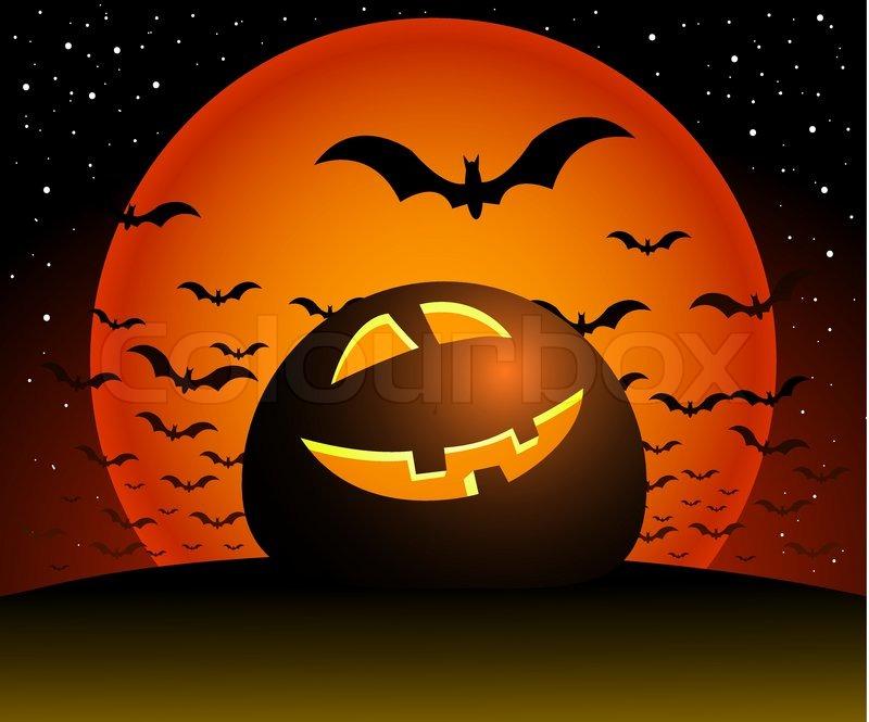 Halloween illustration scene, moon, pumpkin, night, and bats ...
